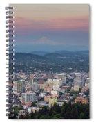 Alpenglow Over Portland Oregon Cityscape Spiral Notebook