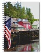 American Flag On Creek Street Ketchikan Alaska Spiral Notebook