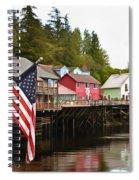 American Flag On Creek Street Ketchikan Alaska Painting Spiral Notebook