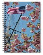 American Flag With Cherry Blossoms Spiral Notebook
