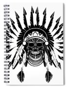 American Indian Skull Icon Background, Black And White  Spiral Notebook