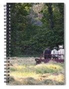 Amish Farmer Raking Hay At Dusk Spiral Notebook