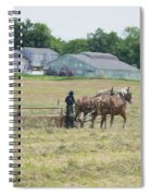 Amish Girl Raking Hay As Painting Spiral Notebook