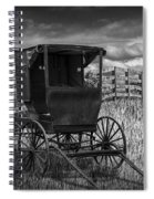 Amish Horse Buggy In Black And White Spiral Notebook