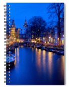 Amsterdam - A Canal Scene At Night . L B Spiral Notebook