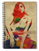 Amy Winehouse Watercolor Portrait Spiral Notebook