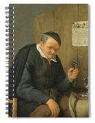 An Elderly Man Seated Holding A Wineglass Spiral Notebook