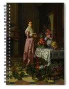 An Interior With Fruit And Flowers Spiral Notebook