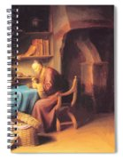 An Old Man Lighting His Pipe In A Study Spiral Notebook