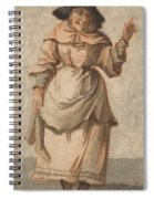 An Old Market Woman Grinning And Gesturing With Her Left Hand Spiral Notebook