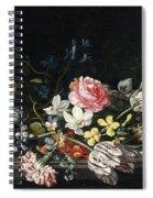 An Overturned Vase Of Flowers Resting On A Ledge Spiral Notebook