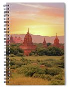 Ancient Pagodas In The Countryside From Bagan In Myanmar At Suns Spiral Notebook