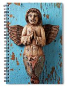 Angel On Blue Wooden Wall Spiral Notebook