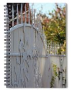 Angled Closeup Of White Washed Iron Gate To Garden Spiral Notebook