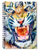 Angry Tiger Watercolor Close-up Spiral Notebook