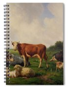 Animals Grazing In A Meadow  Spiral Notebook
