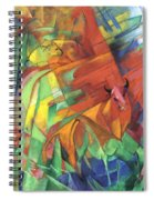 Animals In Landscape Red And Yellow Bulls Resting Spiral Notebook