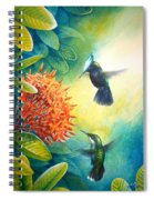 Antillean Crested Hummingbirds And Ixora Spiral Notebook