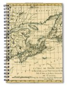 Antique Map Of Eastern Canada Spiral Notebook
