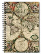 Antique Map Of The World - 1689 Spiral Notebook