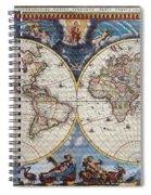 Antique Maps Of The World Joan Blaeu C 1662 Spiral Notebook