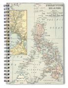 Antique Maps - Old Cartographic Maps - Antique Map Of Philippine Islands And Manila Bay, 1898 Spiral Notebook