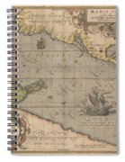 Antique Maps - Old Cartographic Maps - Antique Map Of The Pacific Ocean - Mar Del Zur, 1589 Spiral Notebook