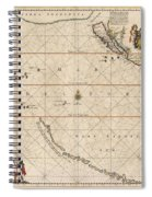Antique Maps - Old Cartographic Maps - Antique Map Of The Strait Of Magellan, South America, 1650 Spiral Notebook