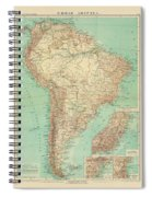 Antique Maps - Old Cartographic Maps - Antique Russian Map Of South America Spiral Notebook