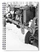 Antique Steel Wheel Tractor Black And White Spiral Notebook