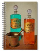 Apothecary Bottles And Brass Pestle And Mortar Spiral Notebook