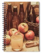 Apples Cider By Wicker Basket On Wooden Table Spiral Notebook