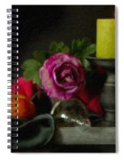 Apples Rose And Candlestick On Tray Stl712923 Spiral Notebook