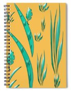 Aqua Design On Gold Spiral Notebook