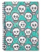 Aqua Skull Pattern Spiral Notebook