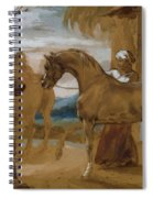 Arabian Stallion Led By Two Arabians To Breed Spiral Notebook