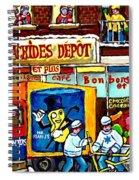 Arachides Depot Candy Shop Painting Rue De L'eglise Verdun Montreal Hockey Art Carole Spandau        Spiral Notebook