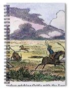 Argentina: Gauchos, 1853. Gauchos Catching Cattle On The Argentine Pampas. Wood Engraving, American, 1853 Spiral Notebook
