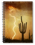 Arizona Saguaro Lightning Strike Poster Print Spiral Notebook