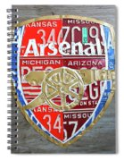 Arsenal Football Team Emblem Recycled Vintage Colorful License Plate Art Spiral Notebook