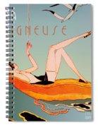 Art Deco Beach Bather Spiral Notebook