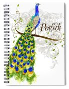 Art Nouveau Peacock W Swirl Tree Branch And Scrolls Spiral Notebook