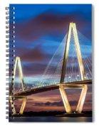 Arthur Ravenel Bridge At Night Spiral Notebook