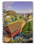 Folk Art Covered Bridge Appalachian Country Farm Summer Landscape - Appalachia - Rural Americana Spiral Notebook