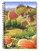Farm Landscape - Autumn Rural Country Pumpkins Folk Art - Appalachian Americana - Fall Pumpkin Patch Spiral Notebook