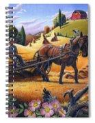 Raking Hay Field Rustic Country Farm Folk Art Landscape Spiral Notebook