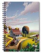 Appalachian Blackberry Patch Rustic Country Farm Folk Art Landscape - Rural Americana - Peaceful Spiral Notebook