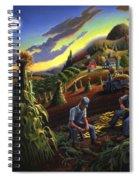 Autumn Farmers Shucking Corn Appalachian Rural Farm Country Harvesting Landscape - Harvest Folk Art Spiral Notebook