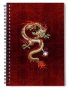 Golden Chinese Dragon Fucanglong On Red Silk Spiral Notebook