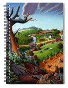 Appalachian Fall Thanksgiving Wheat Field Harvest Farm Landscape Painting - Rural Americana - Autumn Spiral Notebook